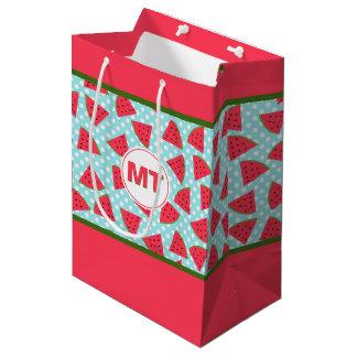 Modern Trendy Graphic Watermelon Fruit Pattern Medium Gift Bag