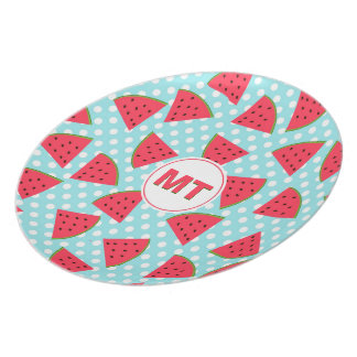 Modern Trendy Graphic Watermelon Fruit Pattern Plate