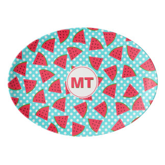 Modern Trendy Graphic Watermelon Fruit Pattern Porcelain Serving Platter