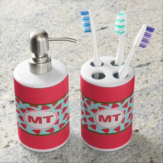Modern Trendy Graphic Watermelon Fruit Pattern Soap Dispenser And Toothbrush Holder