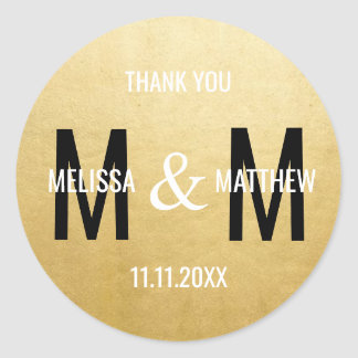 Modern Trendy MONOGRAM Gold Black White Wedding Classic Round Sticker