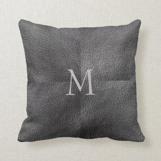 Modern trendy patchwork dark gray leather monogram throw pillow