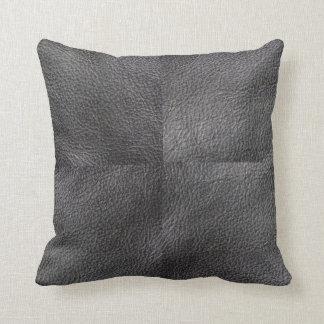 Modern trendy patchwork dark gray leather photos throw pillow