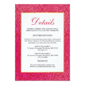Modern trendy Pink Glossy Glitter Wedding Details Card