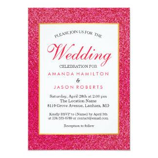 Modern trendy Pink Glossy Glitter  Wedding Invite