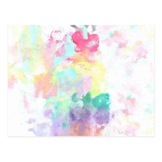 Modern trendy pink teal bright watercolor pattern postcard