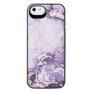 Modern Trendy Purple Marbled Stone iPhone SE/5/5s Battery Case