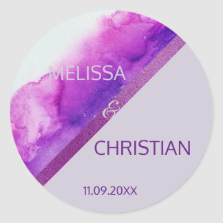 Modern Trendy Purple, Plum Lavender Gold Wedding Classic Round Sticker