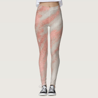 Modern Trendy Rose Gold Marble Stylish Leggings