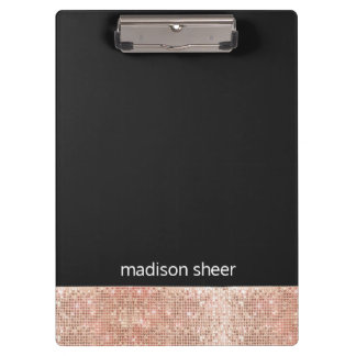 Modern Trendy Rose Gold Sequin Black Clipboard