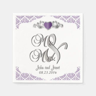 Modern Trendy Wedding in a Purple Damask Paper Napkin