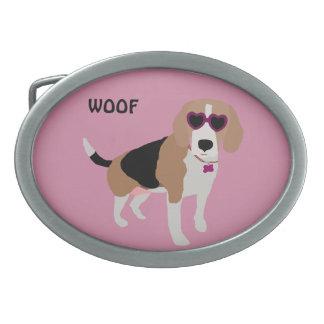 Modern tri-color beagle dog belt buckles