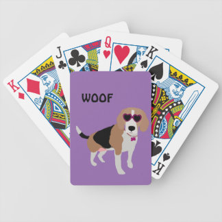 Modern tri-color beagle dog bicycle playing cards