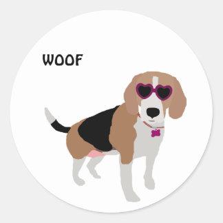 Modern tri-color beagle dog classic round sticker