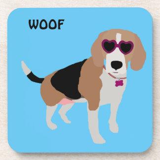Modern tri-color beagle dog coaster