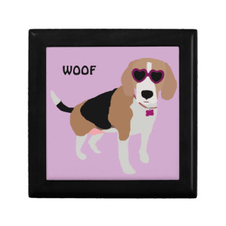 Modern tri-color beagle dog gift box