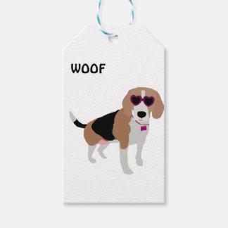 Modern tri-color beagle dog gift tags