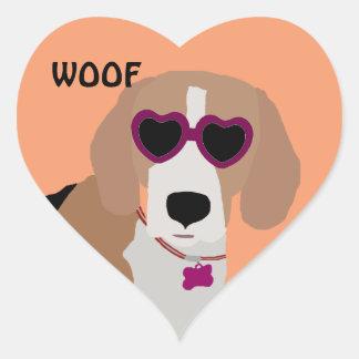 Modern tri-color beagle dog heart sticker