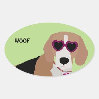 Modern tri-color beagle dog oval sticker