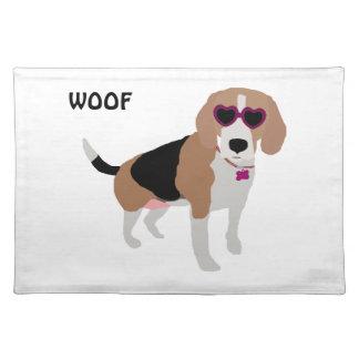 Modern tri-color beagle dog placemat