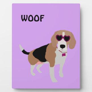 Modern tri-color beagle dog plaque