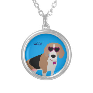 Modern tri-color beagle dog silver plated necklace
