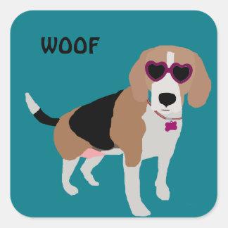 Modern tri-color beagle dog square sticker