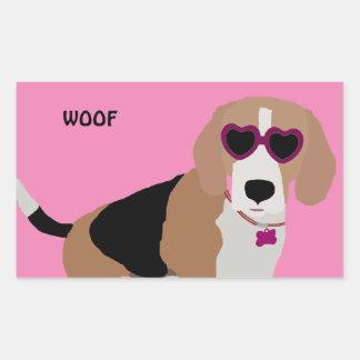 Modern tri-color beagle dog sticker