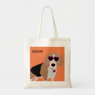 Modern tri-color beagle dog tote bag