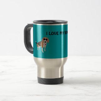 Modern tri-color beagle dog travel mug