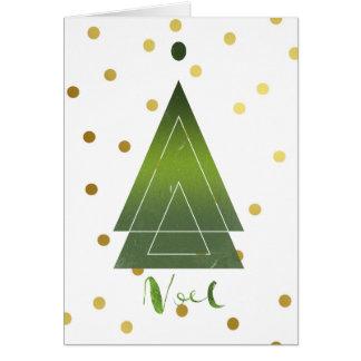 Modern Triangle Christmas Tree Gold Polka Dots Card