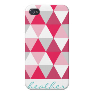 Modern Triangle Pattern in Shades of Pink Cover For iPhone 4