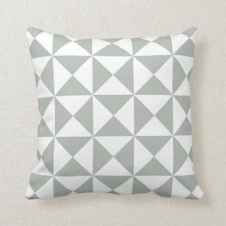 Modern Triangle Pattern Pillow in Silver Gray