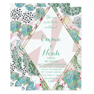 Modern triangles and cactus paint wedding design card