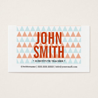 Modern Triangles Substitute Teacher Business Card