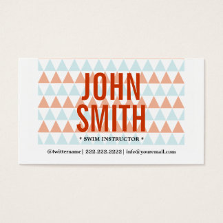 Modern Triangles Swim Instructor Business Card
