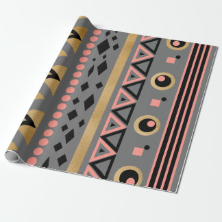 modern tribal aztec gold foil geometric pattern wrapping paper