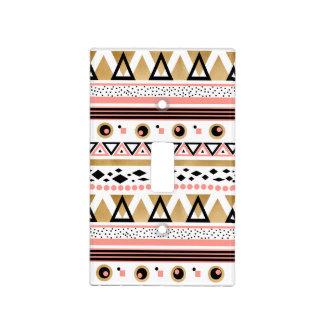modern tribal aztec gold geometric pattern light switch cover