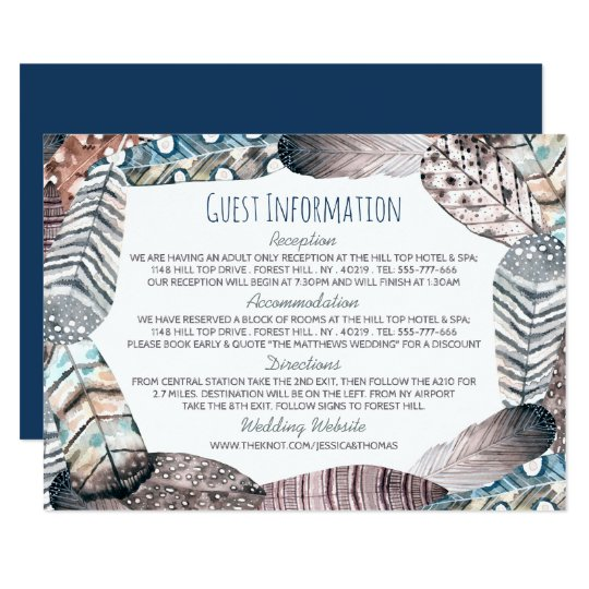 Modern Tribal Feathers Bohemian Wedding Detail Card
