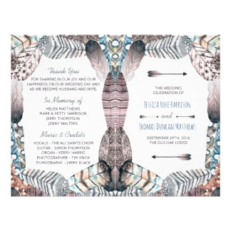 Modern Tribal Feathers Bohemian Wedding Program