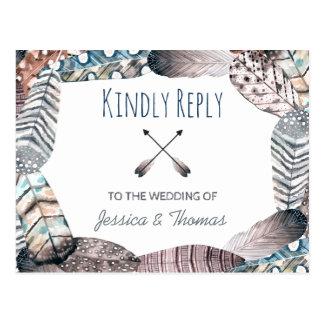 Modern Tribal Feathers Bohemian Wedding RSVP Postcard