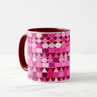 Modern Tribal Geometric, Burgundy and Pink Mug