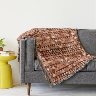 Modern Tribal Geometric, Chocolate Brown and Tan Throw Blanket