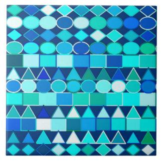 Modern Tribal Geometric, Denim Blues on Navy Ceramic Tile