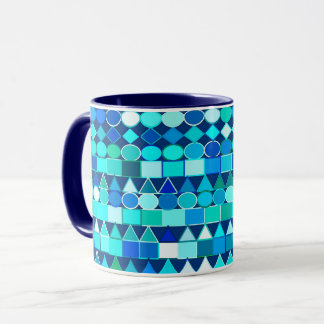 Modern Tribal Geometric, Denim Blues on Navy Mug