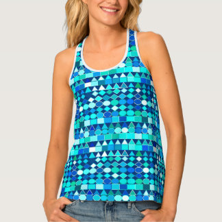 Modern Tribal Geometric, Denim Blues on Navy Tank Top