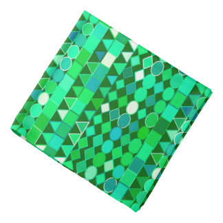 Modern Tribal Geometric, Emerald Green and Aqua Bandana