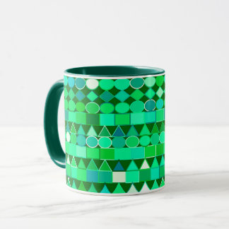 Modern Tribal Geometric, Emerald Green and Aqua Mug