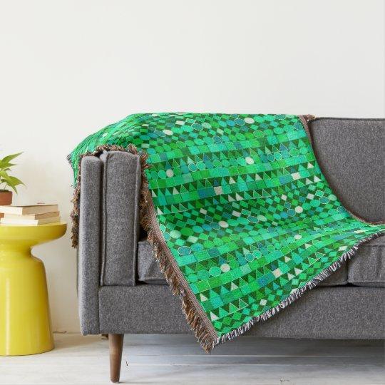 Modern Tribal Geometric, Emerald Green and Aqua Throw Blanket