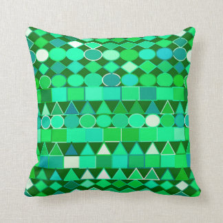 Modern Tribal Geometric, Emerald Green and Aqua Throw Pillow
